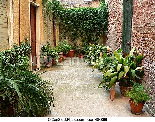 garden with pot plants - csp1404096