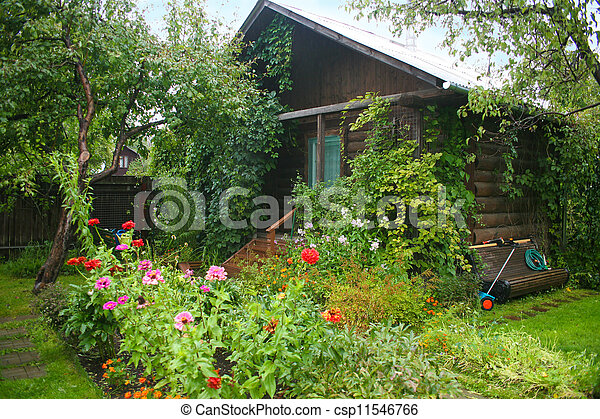 Garden with the wooden house - csp11546766