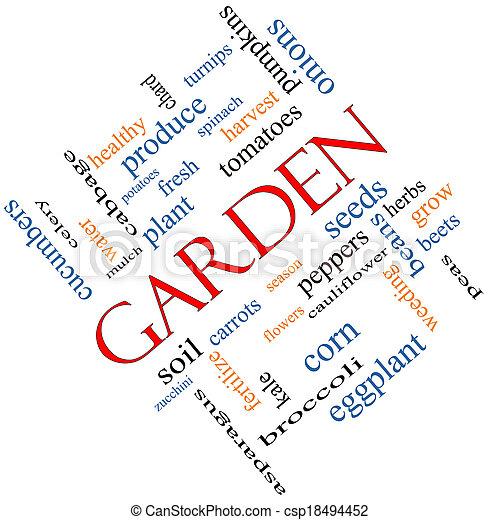 Garden Word Cloud Concept Angled - csp18494452