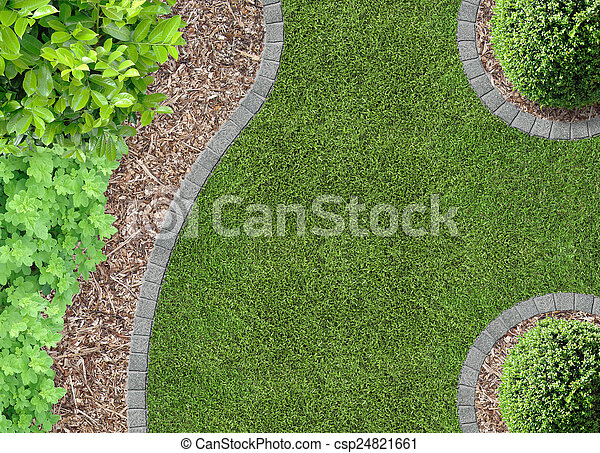Gardendetail in aerial view - csp24821661