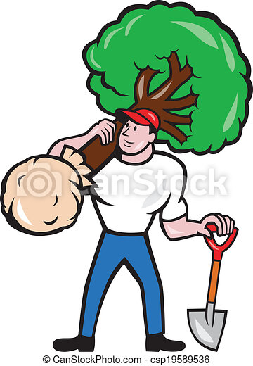 gardener arborist carrying tree cartoon illustration of gardener rh canstockphoto com