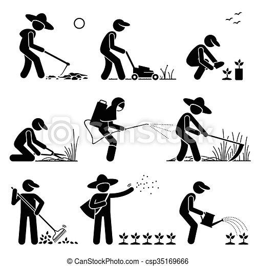 Gardener Farmer Using Tools - csp35169666