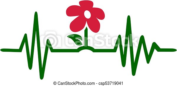 gardener heartbeat line with coloured flower gardener eps vector rh canstockphoto com heart rate clipart heartbeat clipart black and white