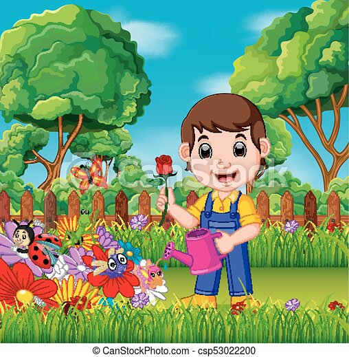 illustration of gardener holding flower and watering can in a flower garden https www canstockphoto com gardener holding flower and watering can 53022200 html
