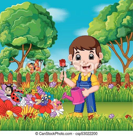 illustration of gardener holding flower and watering can in a flower garden https www canstockphoto com gardener holding flower and watering can 53022200 html