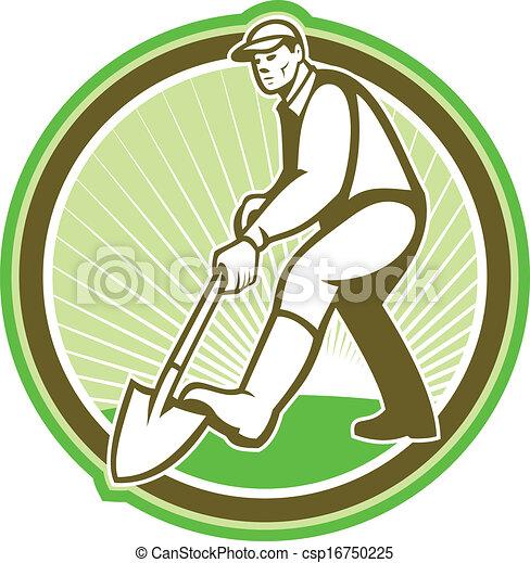 Gardener Landscaper Digging Shovel Circle - csp16750225