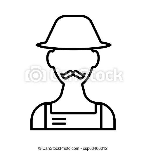 Gardener line icon. vector illustration isolated on white. outline style design, designed for web and app. Eps 10 - csp68486812