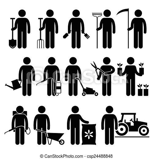 Gardener Man Worker Gardening Tools - csp24488848