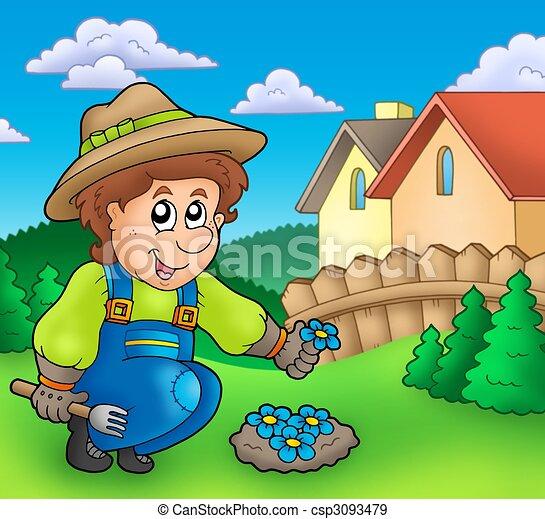 Gardener planting flowers - csp3093479