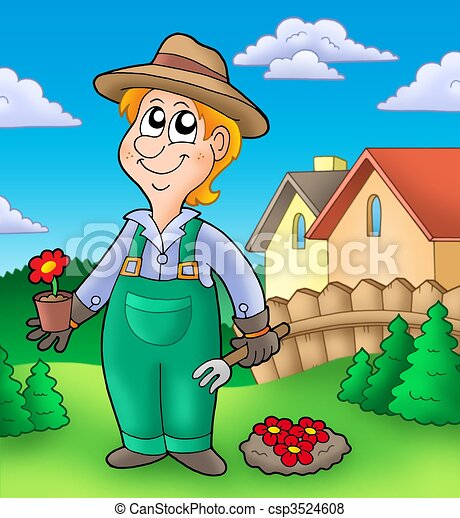 Gardener planting red flowers - csp3524608