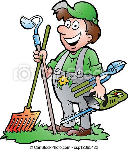 Gardener standing with tools - csp12395422
