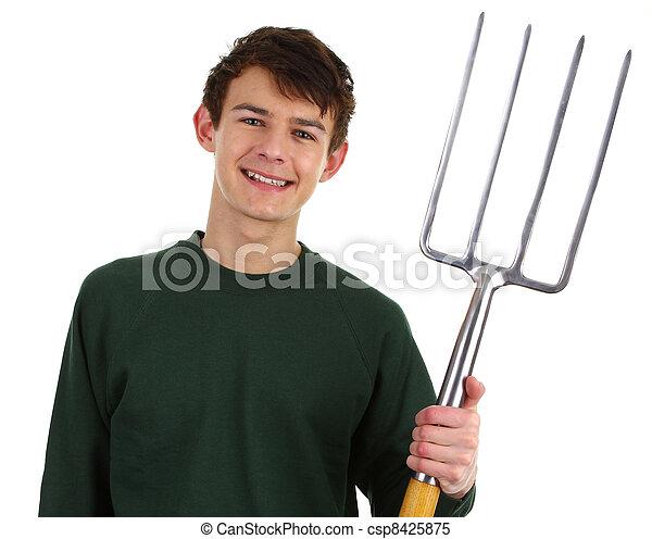 gardener with a fork - csp8425875