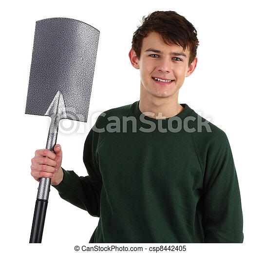 Gardener with a spade - csp8442405