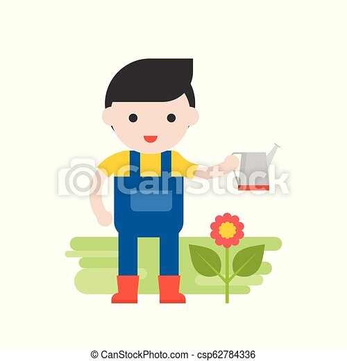 Gardener with flower and watering can, Set Profession character of people in uniform, flat design - csp62784336
