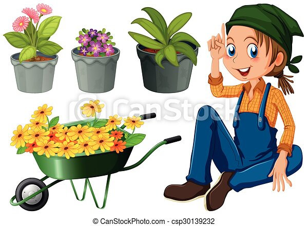 Gardener with potted plants and flowers - csp30139232