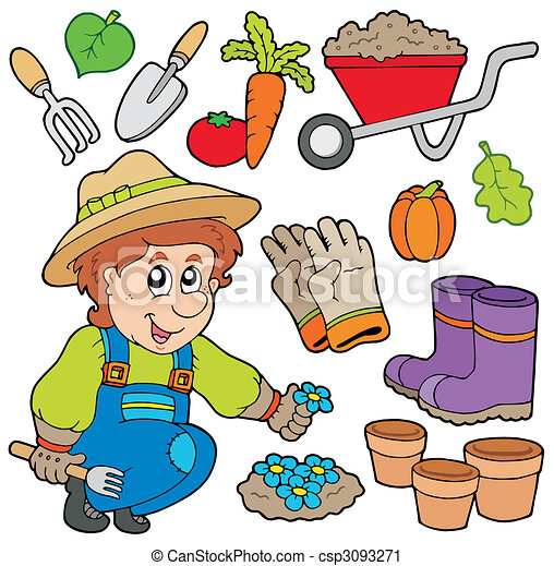 Gardener with various objects - csp3093271