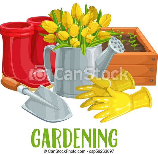 Gardening Banner With Flowers Vector Gardening Banner With Gloves Tulips Watering Can Rubber Boots And Seedlings For