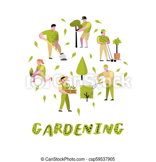 Gardening Cartoons Set Funny Simple Characters With Plants And Trees Man And Woman Gardener Vector Illustration