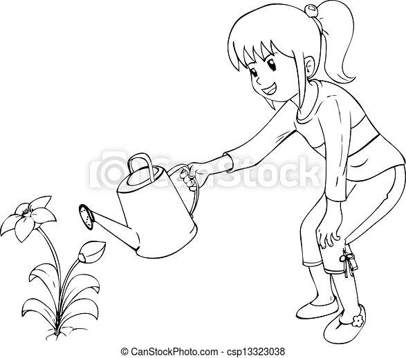Gardening Outline Illustration Of Little Girl Watering The Flower