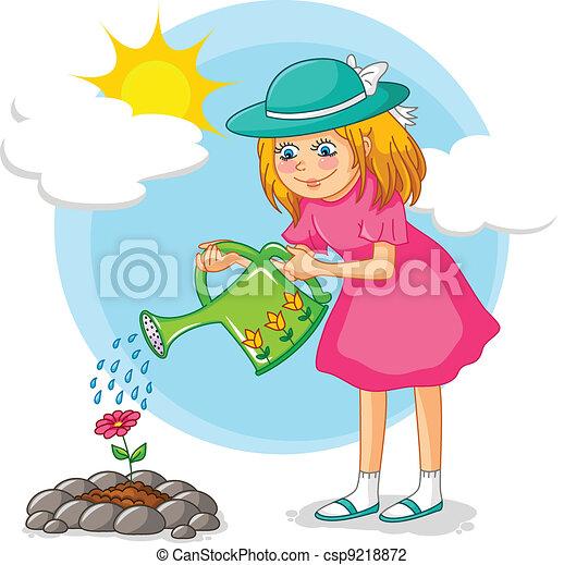 Gardening Girl Eps Vector Csp9218872