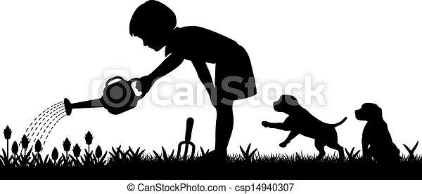 ... Gardening Girl   Editable Vector Silhouette Of A Young Girl.