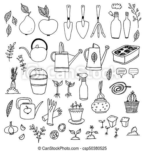 Gardening, horticulture vector set - csp50380525