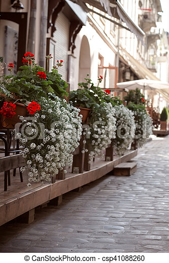 gardening in the street outside a cafe - csp41088260