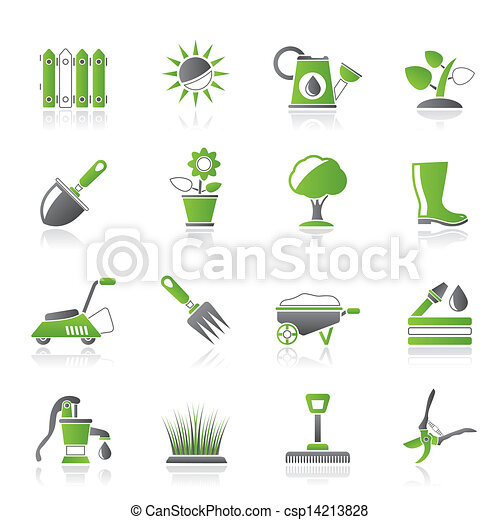 Gardening tools and objects icons - csp14213828