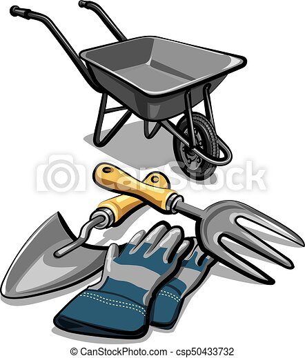 Illustration of gardening tools and wheelbarrow with for Gardening tools drawing