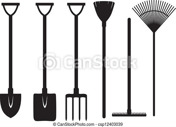 Gardening Tools Set Set Of Silhouette Images Of Gardening
