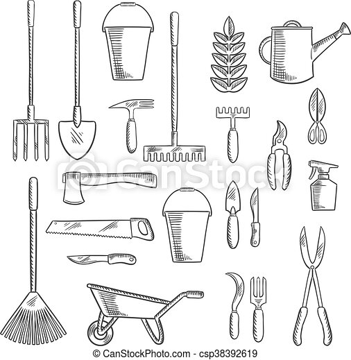 gardening tools sketches for farming design watering can and plant with gardening hand tools. Black Bedroom Furniture Sets. Home Design Ideas