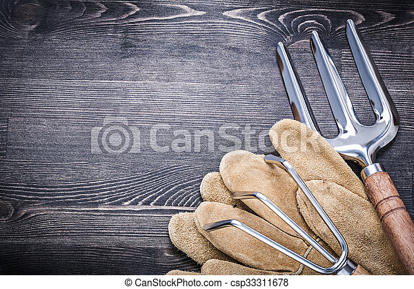 Gardening trowel fork rake leather working gloves agriculture co - csp33311678