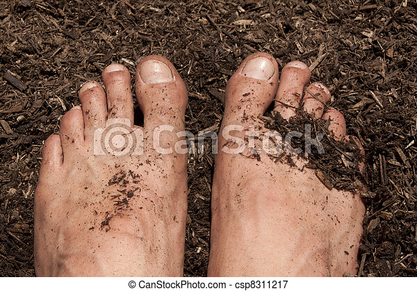 Gardening with feet in the dirt.  - csp8311217