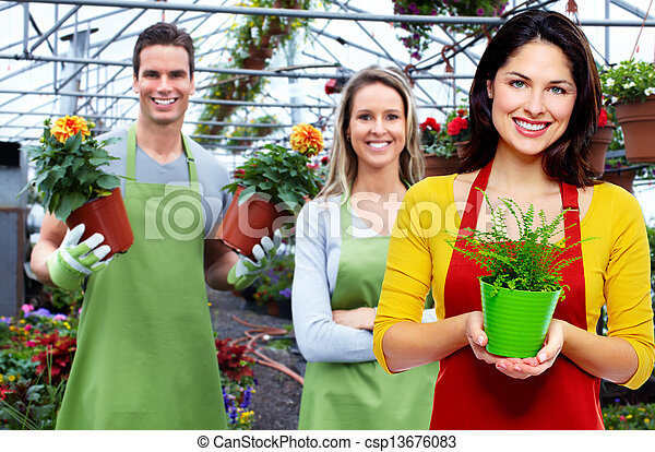 Gardening woman with plant. - csp13676083