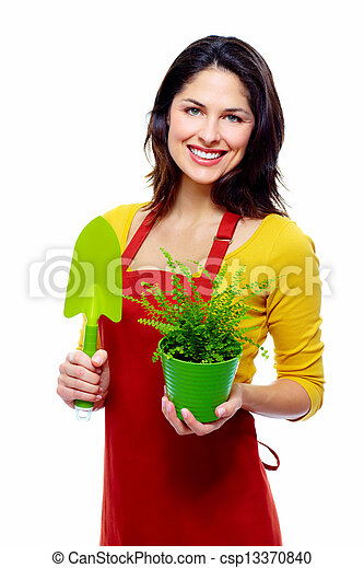 Gardening woman with plant. - csp13370840