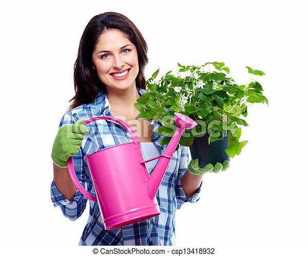 Gardening woman with plant. - csp13418932
