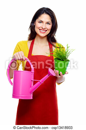 Gardening woman with plant. - csp13418933