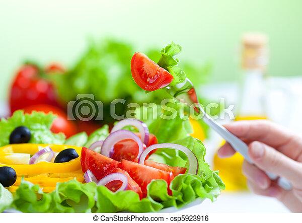 garfo, salada, alimento saudável, vegetal, fresco - csp5923916