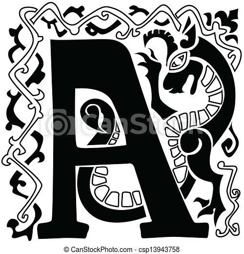 gargoyle capital letter A - csp13943758