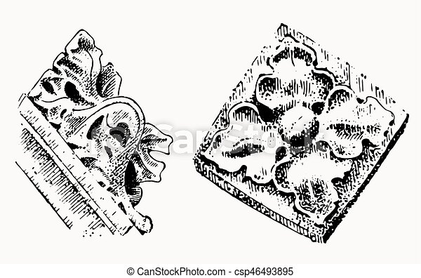 Gargoyle Chimera of Notre-Dame de Paris, engraved, hand drawn vector illustration with gothic guardians include architectual elements, vintage statue medieval - csp46493895