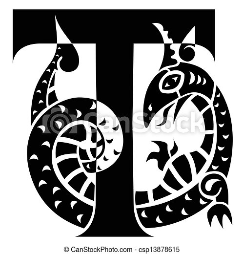 gargoyle decorating capital letter T - csp13878615