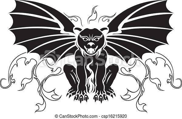 Gargoyle stencil decoration - csp16215920