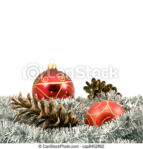 garland with pine cones and baubles - csp8452862