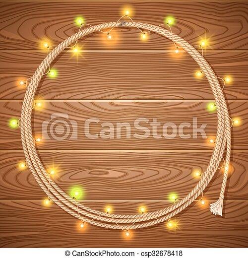 garlands, fondo, laccio, legno, natale, decorato, cowboy, luce - csp32678418