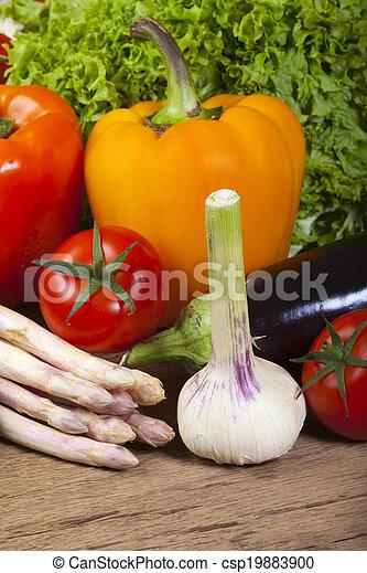 Garlic, asparagus and other fresh vegetables - csp19883900