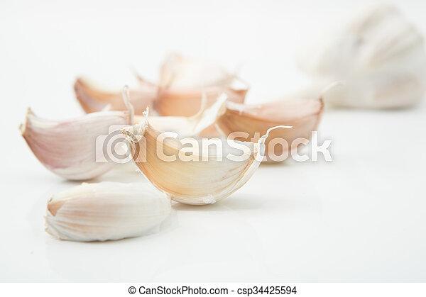 garlic on white background - csp34425594