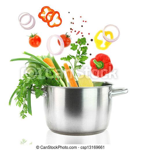garnek, świeży, spadanie, warzywa, niesplamiony, tygielek, stal - csp13169661