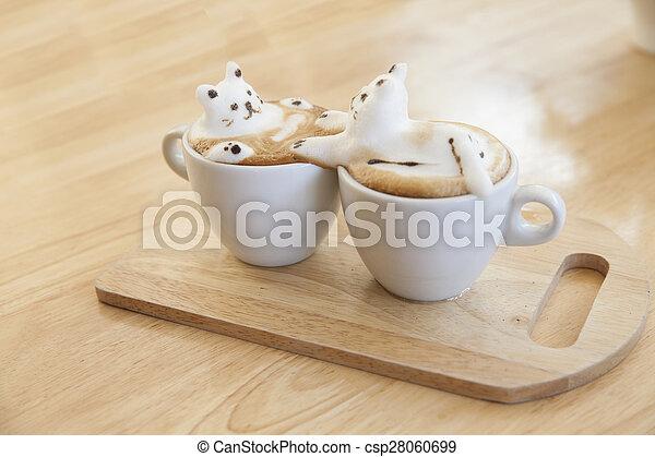 garnierung, gemacht, becher, oberseite, schaum, cafe au lait, heiß, holz, ort, tisch, milch - csp28060699