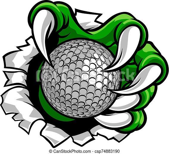 garra, monstruo, deportes, mano, pelota de golf - csp74883190
