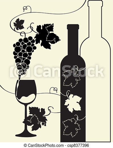 garrafa copo, uvas, vinho - csp8377396